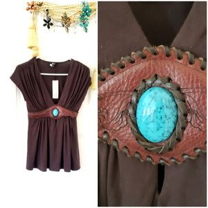 Sky brand turquoise embellished top